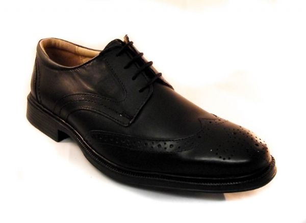 Leather Brogue in black with comfort footbed and flexible rubber sole.